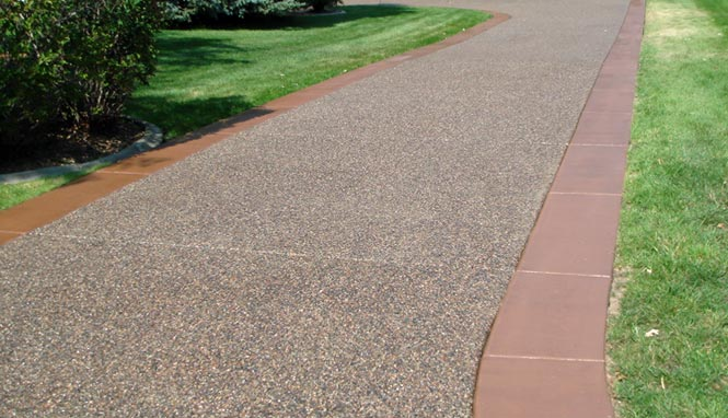 Exposed Aggregate Concrete With Plain Concrete Borders And Dye